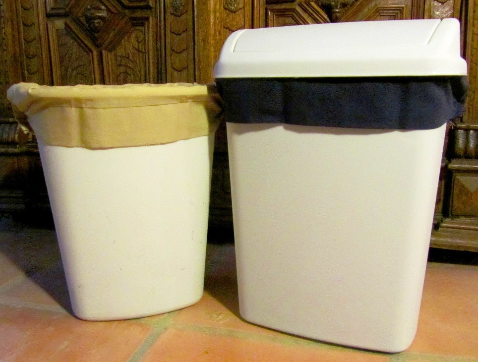reusable trash can liners small set of 2 khaki and navy. Black Bedroom Furniture Sets. Home Design Ideas