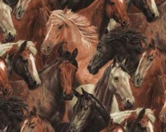 100 percent cotton fabric Brown Horses All Over, sold by the fat quarter