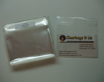 AF32 100 Clear Cellophane Envelopes 3 5/8 x 2 (9.2cm x 5.1cm) Business Card Size