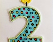 Birthday Candle Number 2  DIY Iron on Applique