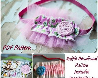 Ruffle Headband Pattern- How To PDF Includes Rosette Flower INSTANT DOWNLOAD