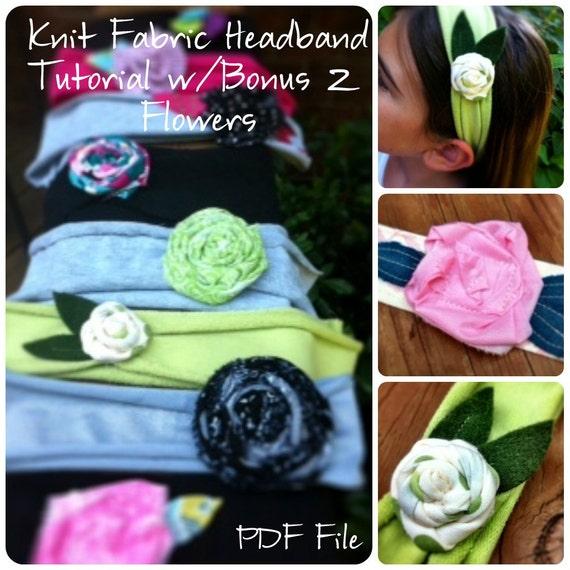 Flower Headband Tutorial: Items Similar To Knit Fabric Headband & Flower Tutorial