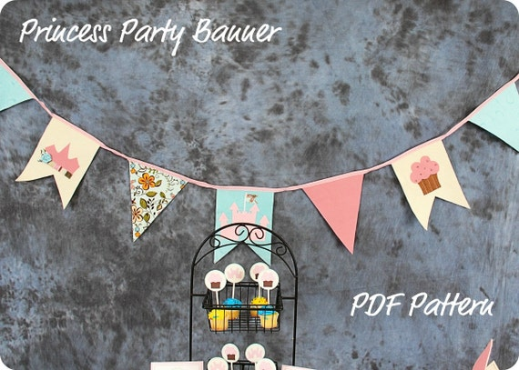 Bunting Banner Pendant Flag Pattern- How To- Princess Party Theme