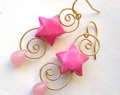 Swirling Origami Earrings Paper Stars - Pink & Gold