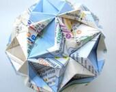 New York City Stars Origami Ornament - Subway Map Upcycled