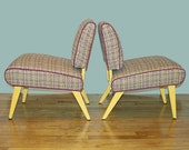 Pair of Petite Vintage Fuchsia Yellow Tweed Slipper Chairs (Reserved for blimaleh)