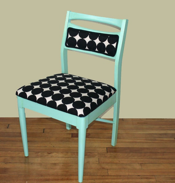 SALE Aqua Mint Robert Allen Dot Vintage Danish Side Chair