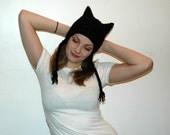 Black Cute Kitten Ear- Ear Flap Hat