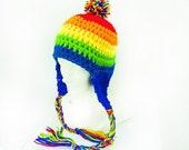 Striped PomPom Rainbow  Earflap Hat