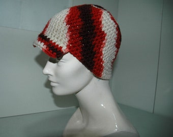 SALE- Red Rust White and Brown NewsBoy Beanie Hat