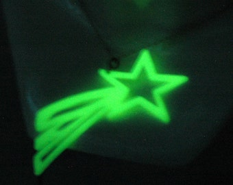 Green Glow in The Dark Falling Star Necklace
