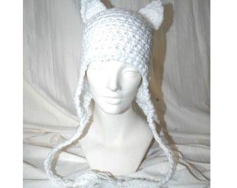 White Kitten Ear Flap Hat