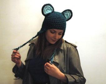 Teal Monkey EarFlap Hat