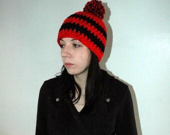 Waldo's Evil Twin  Red and Black POm POm Hat