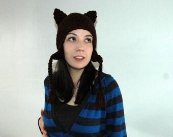 Kitten Brown  Fox  Ear Flap Hat