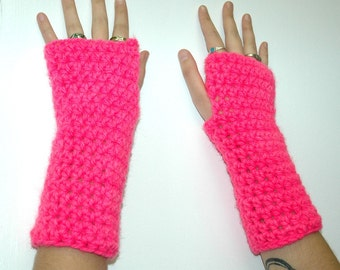 Hot Pink Fingerless Gloves
