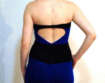 Knit Dress Sparkling Blue and Black