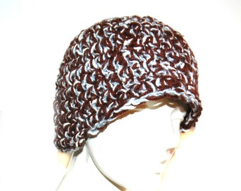 SALE-Brown,Blue and white fleck tones  Beanie Hat