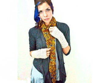 SALE-Yellow Gold and Blue Scarf