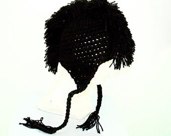 Black Mohawk Ear Flap Hat