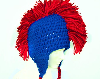 Red and Blue Mohawk Ear Flap Hat Chicago Cubs Colors World Series Champion