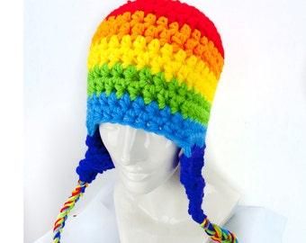Striped Rainbow EarFlap Hat