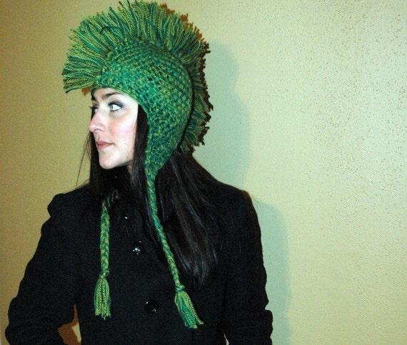 Green Mohawk Ear Flap Hat