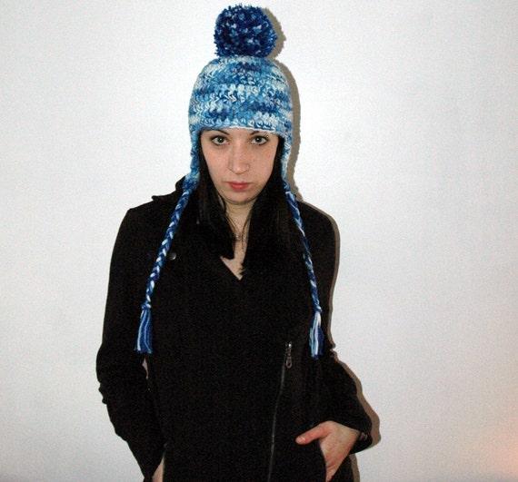 Blue Pom Pom Earflap Hat