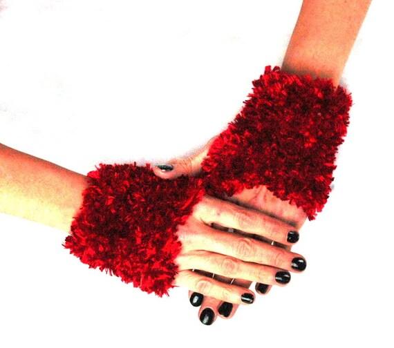Velvet Red Fingerless Gloves