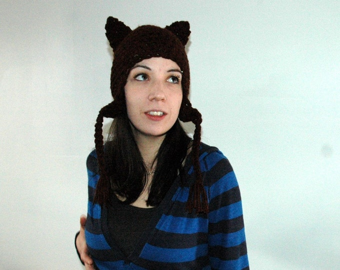 Can't  Grab This Pussy Kitten Brown  Fox  Ear Flap Hat Cat Women's March on Washington Hat
