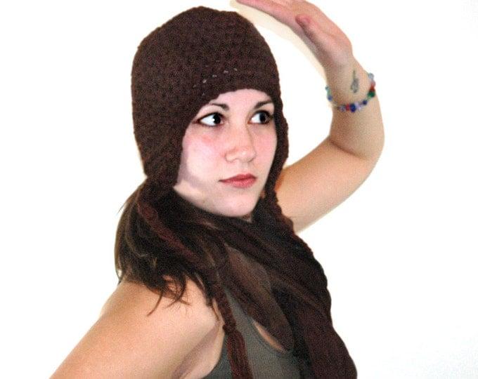 Simple  Dark Brown Earflap Hat