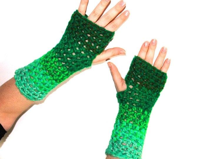 Green Ombre Fingerless Gloves
