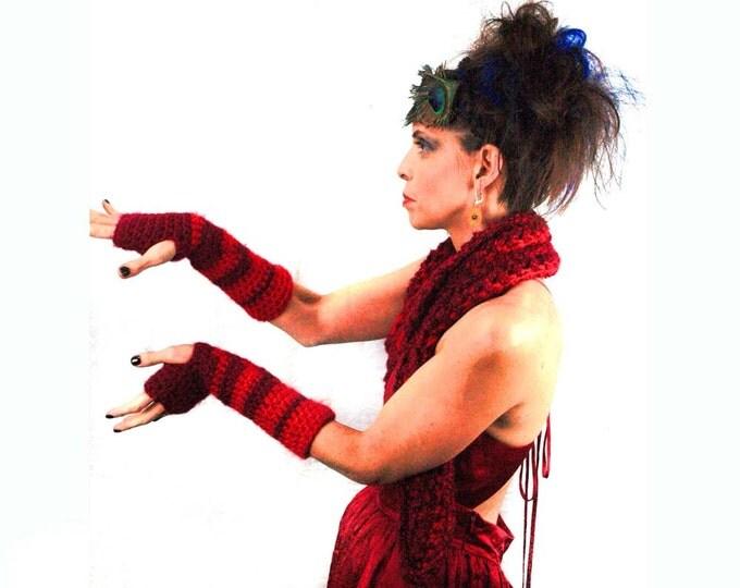 Red Ombre Fingerless Gloves