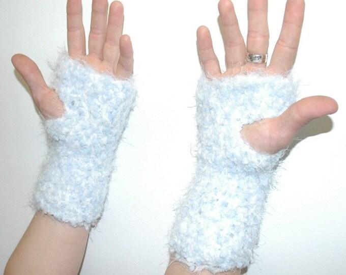Baby Blue Fuzzy Gloves