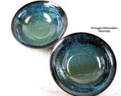 Handmade pottery Pasta bowl set, salad bowl set, cereal bowl set, Ocean blue (in stock)