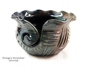 Yarn bowl, knitting bowl, earhty tone, green and blue - (Made to order)