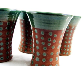 Ceramic tumbler set, pottery cups, earthy green glaze, polka dots - made to order