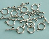 12  Antiqued Silver Color Ring Toggle Clasps
