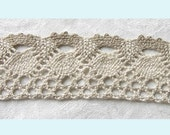 4 Yards of Ivory And Mocha Crochet Ribbon