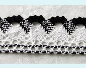 4 Yards of Black and White Crochet Lace Trim