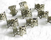 10 Pieces of Antiqued Brass Adjustable Filigree Blank Ring