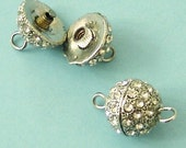 4 Pieces of Clear Rhinestone Ball Shaped Clasps