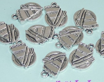 Antiqued Silver Color Cake In Plate Charms 10 Pieces