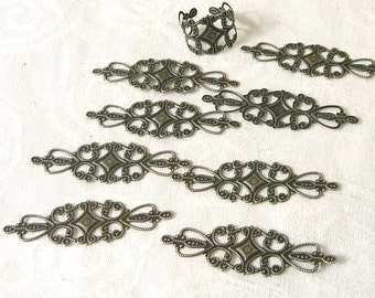 10 Pieces of Antiqued Bronze Long Floral filigree Wrap