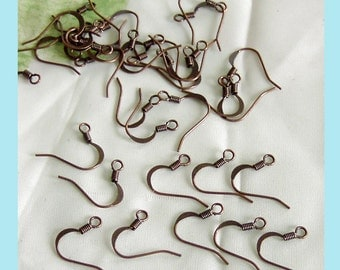 50 Pieces of  Antiqued Cooper Flat  Earring Wires