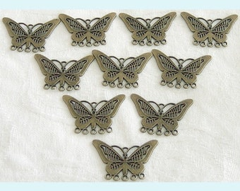 10 Pieces of Antiqued Brass Butterfly Chandelier Earring Findings