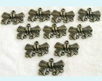 10 Pieces of Antiqued Bronze Bow Chandelier Earring Findings