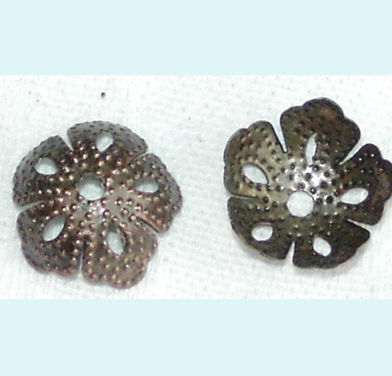 100 Pieces Antiqued Cooper  Flexible filigree Bead Caps