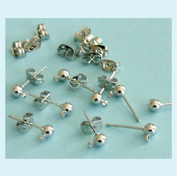 10 Pairs of White Gold Color 4mm Ball Earring Posts with Loop and  Backs.