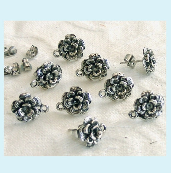 5 Pairs of Antiqued Silver Flower Earring Posts With Loop And Backs